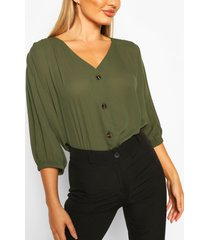 horn button through blouse, khaki