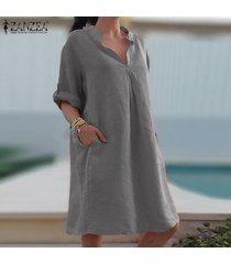 zanzea mujer de la manga completa gira el collar abajo de la rodilla longitud del vestido flojo camisetas casual -gris