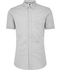 mens grey gray oxford short sleeve shirt