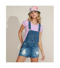 jardineira jeans feminina destroyed com bolsos azul médio