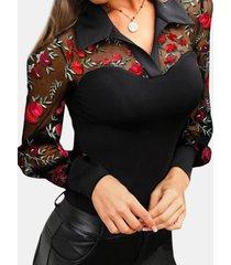 camicetta manica lunga trasparente con scollo a v scollo a v cava ricami floreali