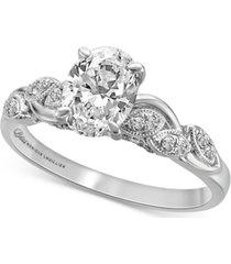 bliss monique lhuillier diamond oval milgrain engagement ring (1-1/5 ct. t.w.) in 14k white gold