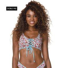 traje de baño top azul-multicolor maaji swimwear danzel lace up bralette