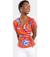 women's abigail floral wrap blouse in coral by francesca's - size: m