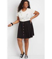 maurices plus size womens black button front skirt