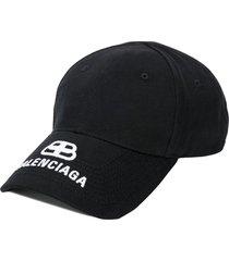 balenciaga embroidered logo baseball cap - black