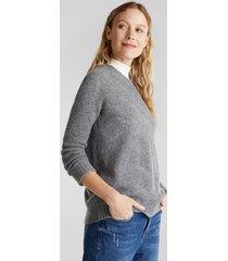sweater texturado con lana gris esprit