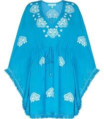 melissa odabash embroidered detail mini dress - blue