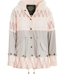 embroidery canvas parka jacket with detachable details