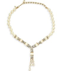 dripping teardrop crystal & faux pearl necklace