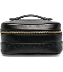 chanel pre-owned quilted vanity case - black