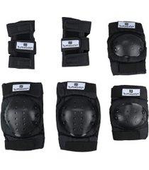 kit proteção long jump bob burnquist com 1 par de: munhequeiras + joelheiras + cotoveleiras - adulto - preto