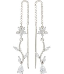 cubic zirconia floral vine drop earrings