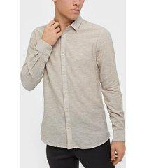 only & sons onscaiden ls solid linen shirt noos skjortor grå