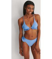 marije zuurveld x na-kd recycled bikiniunderdel med ryschdetalj - blue