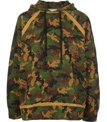 printed camo cotton hoodie