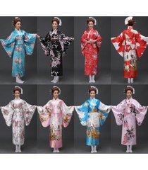 retro oriental japanese yukata kimono obi cosplay robe geisha dress sleepwear&.
