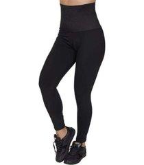 calã§a legging modeladora em suplex. - cinza/preto - feminino - dafiti