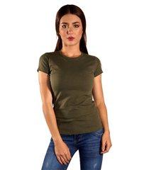 blusa color verde militar para dama manga corta cuello redondo maia