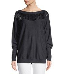 lafayette 148 new york women's fringe embellished dolman sweater - ink - size m