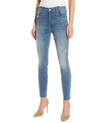 women's mother the stunner frayed ankle skinny jeans, size 25 - blue