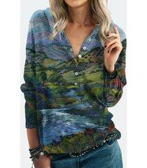 camicetta a maniche lunghe con bottoni con stampa orizzontale per donna