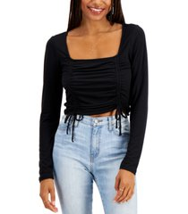 almost famous juniors' ruched square-neck cropped top