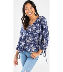 olive printed blouse - navy