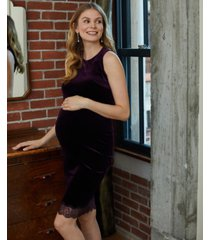 a pea in the pod maternity lace-trim velvet dress