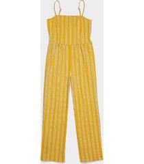 tommy hilfiger women's adaptive stripe jumpsuit yolk yellow/multi - xl