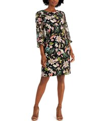 connected petite printed chiffon-sleeve dress