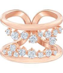 anillo con motivo north, blanco, baño en tono oro rosa 5512433