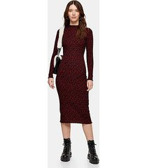 red floral rose print bodycon midi dress - red