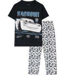 pijama camiseta manga corta y pantalon azul cars