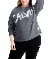 calvin klein performance plus size logo-print sweatshirt