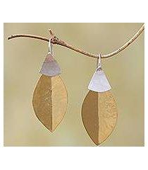 gold plated dangle earrings, 'modern fall' (indonesia)