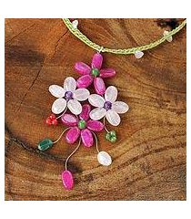 rose quartz flower necklace, 'pink bouquet' (thailand)