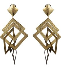 buffedss square clip earrings, women's, josie natori