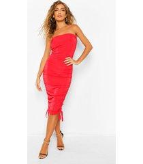 getextuurde strakke mini jurk met extreme ruches, red