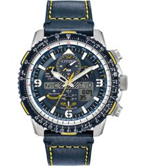 citizen eco-drive men's analog-digital chronograph promaster blue angels skyhawk a-t blue leather strap watch 46mm