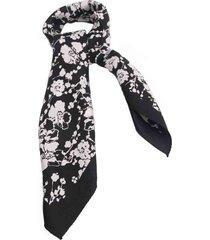 lenço smm acessorios florido preto e branco