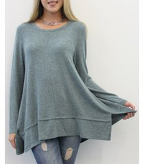 coin 1804 women's long sleeve pleat button back top