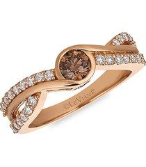 le vian women's 14k strawberry gold®, chocolate & vanilla diamond® ring - size 7