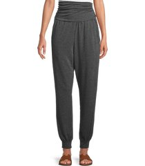 saks fifth avenue women's foldover heathered jogger pants - charcoal - size s