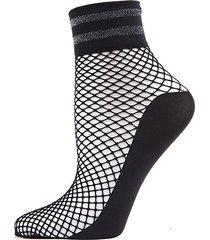 metallic stripe fishnet ankle socks