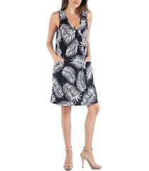 24seven comfort apparel feather print sleeveless mini dress with pockets