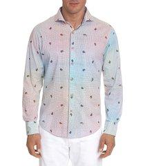 robert graham men's karma chameleon printed sport shirt - white multi - size xl