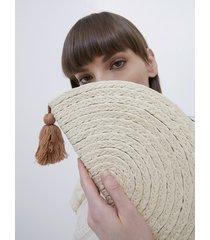 motivi borsa pochette in rafia donna beige