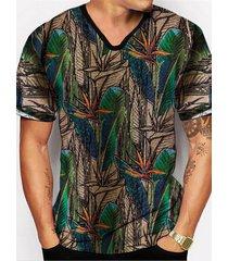camiseta con estampado de cuello en v informal retro de verano para hombre