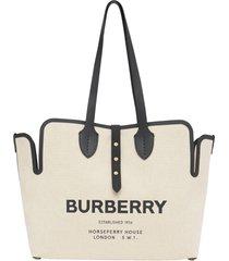 burberry medium logo canvas belt tote - black